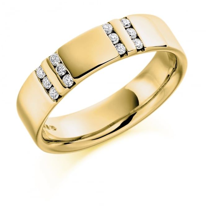 Lance James Wedding Mens 9ct Yellow Gold Channel Set 0.22ct Diamond Wedding Ring