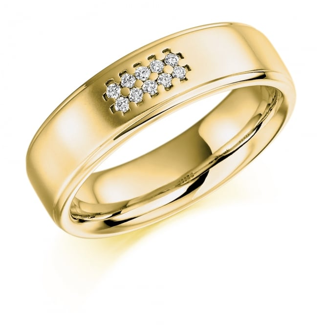 Lance James Wedding Mens 9ct Yellow Gold Grain Set 0.06ct Diamond Wedding Ring