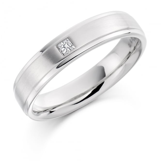 Lance James Wedding Mens Palladium Single 0.07ct Princess Cut Diamond Wedding Band