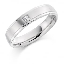 Mens Palladium Single 0.07ct Princess Cut Diamond Wedding Band