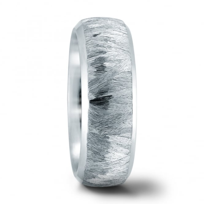 Lance James Wedding Mens Stainless Steel Hand Etched Wedding Ring