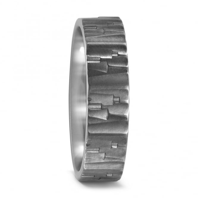 Lance James Wedding Mens Titanium Frosted Wedding Ring