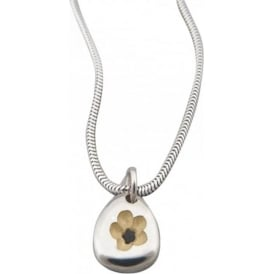 Sterling Silver Pebble Flower Snake Necklace