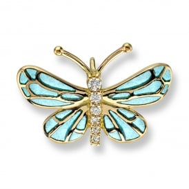 18ct Yellow Gold & Blue Enamel Butterfly Pendant