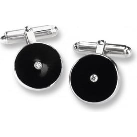 Black Enamel And Diamond Cufflinks