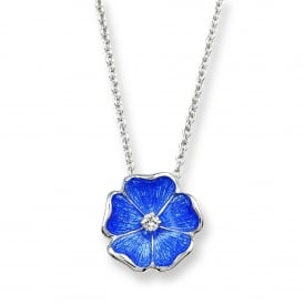 Blue Enamel & Diamond Rose Necklace