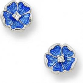 Blue Enamel Rose Diamond Stud Earrings