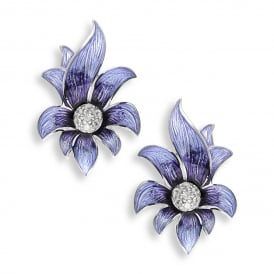 Purple Enamel & White Sapphire Floral Stud Earrings