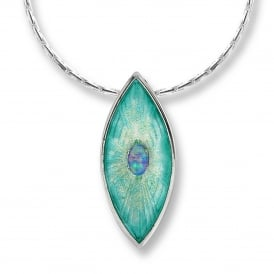 Silver Marquise Necklace With Opal