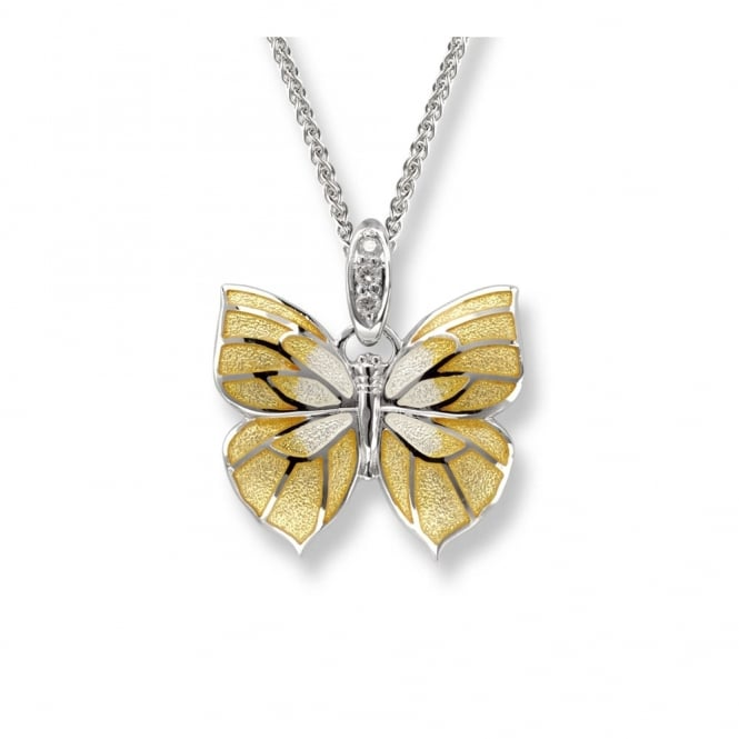 Nicole Barr Sterling Silver And Enamel Yellow Butterfly Necklace