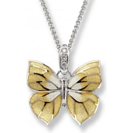 Sterling Silver And Enamel Yellow Butterfly Necklace