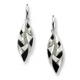 Sterling Silver Black & White Harlequin Drop Earrings
