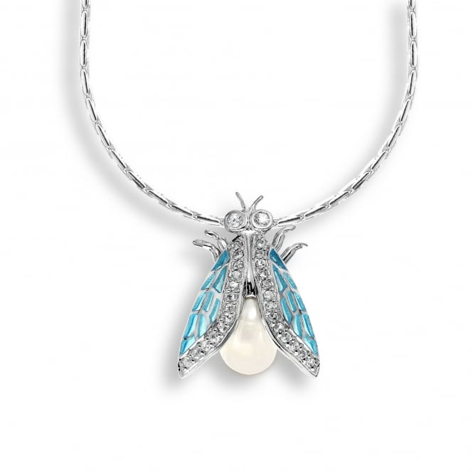 Nicole Barr Sterling Silver Blue Detailed Cicada Necklace
