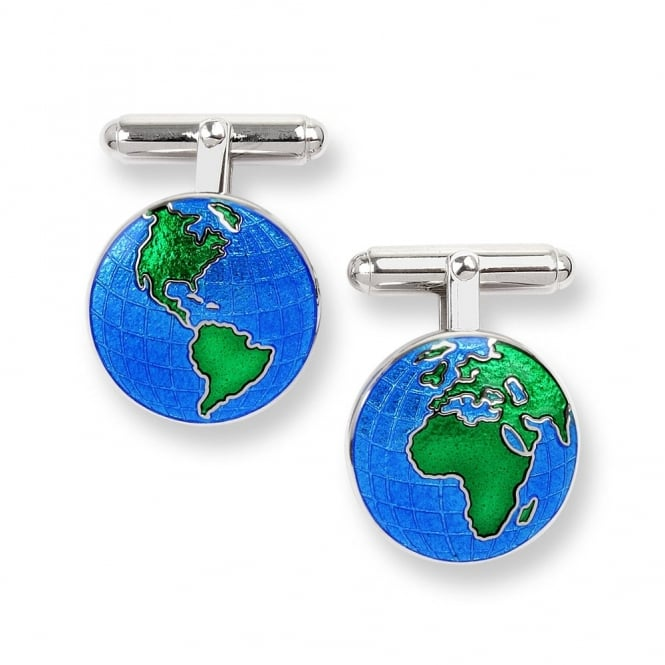 Nicole Barr Sterling Silver Blue Enamel Earth Cufflinks