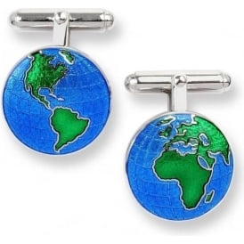 Sterling Silver Blue Enamel Earth Cufflinks
