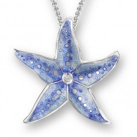 Sterling Silver Blue Enamel Starfish Necklace