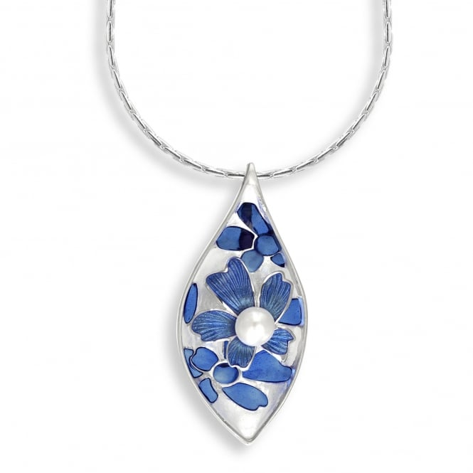 Nicole Barr Sterling Silver Blue Flower Necklace