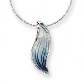 Sterling Silver Blue Leaf Diamond Necklace