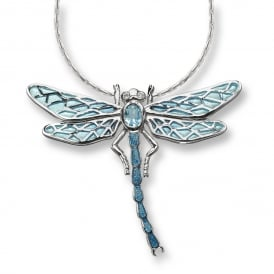 Sterling Silver & Blue Topaz Dragonfly Necklace