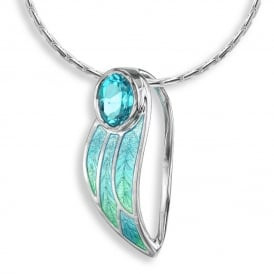 Sterling Silver Blue Topaz Leaf Necklace