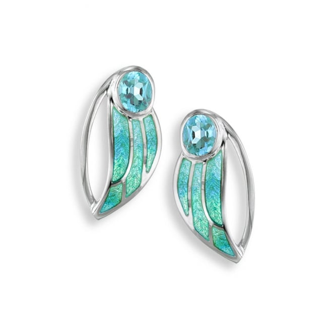 Nicole Barr Sterling Silver Blue Topaz Set Leaf Stud Earrings