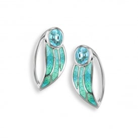 Sterling Silver Blue Topaz Set Leaf Stud Earrings
