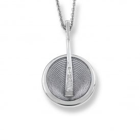 Sterling Silver Diamond Set Circle Necklace