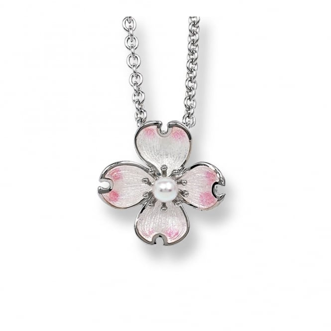 Nicole Barr Sterling Silver Dogwood Necklace With Akoya Pearl