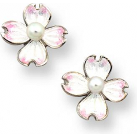 Sterling Silver Dogwood Stud Earrings