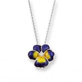 Sterling Silver Enamel & Diamond Pansy Necklace