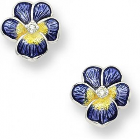 Sterling Silver Enamel Pansy Stud Earrings