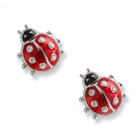 Sterling Silver & Enamel Red Ladybug Stud Earrings