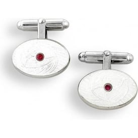 Sterling Silver Oval T-Bar Ruby Cufflinks