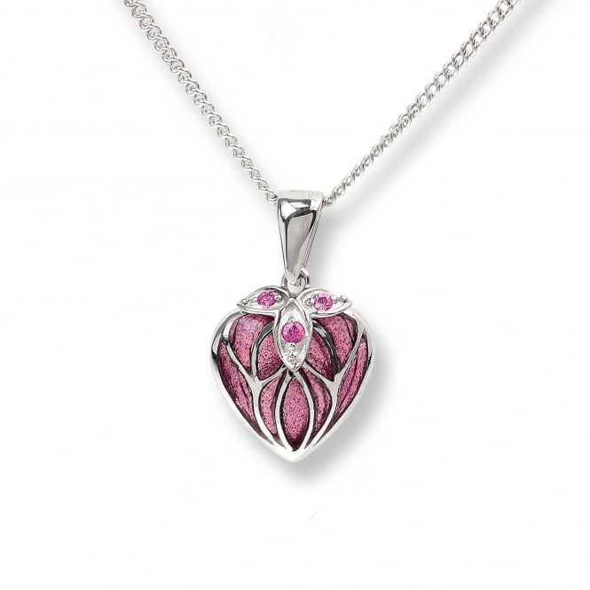 Nicole Barr Sterling Silver Pink Sapphire Heart Necklace