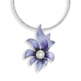 Sterling Silver Purple Floral Necklace With White Sapphires