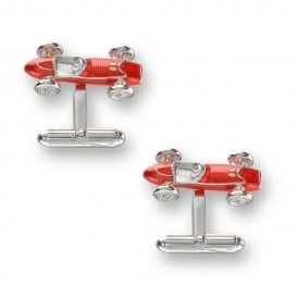 Sterling Silver & Red Enamel Race Car Cufflinks