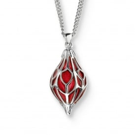 Sterling Silver Red Ornament Necklace