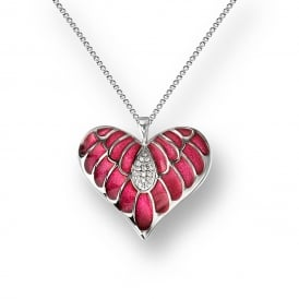 Sterling Silver Sapphire Set Heart Necklace