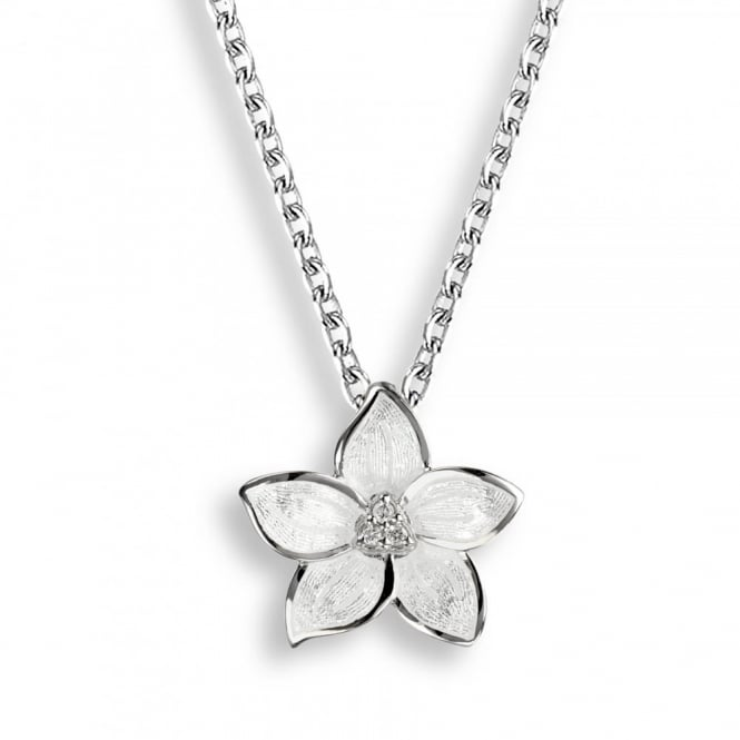 Nicole Barr Sterling Silver Stephanotis Floral Necklace