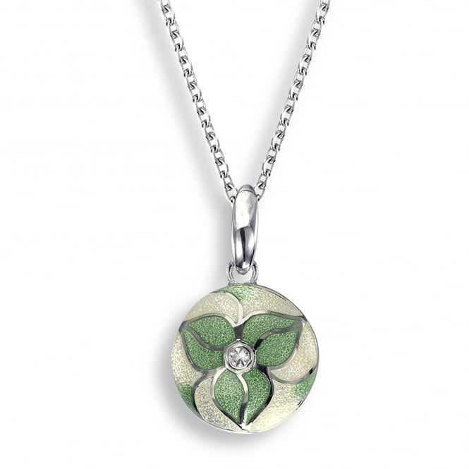 Nicole Barr Sterling Silver Trillium Green Enamel Necklace
