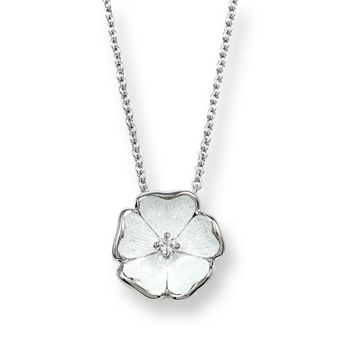 Nicole Barr Sterling Silver & White Enamel Rose Necklace