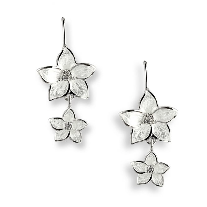 Nicole Barr Sterling Silver & White Enamel Stephanotis Drop Earrings