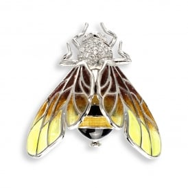 Sterling Silver & White Sapphire Set Bee Brooch