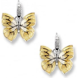 Sterling Silver Yellow Butterfly Wire Earrings