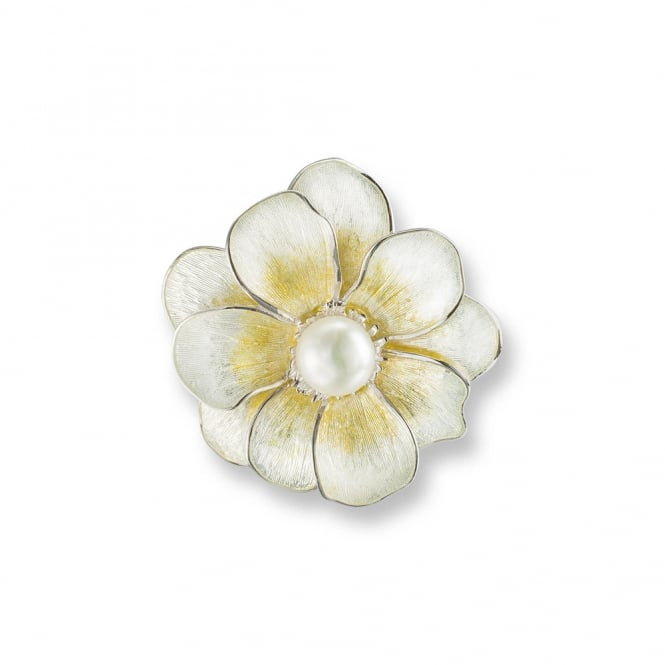 Nicole Barr Sterling Siver & Yellow Enamel Camelia Pearl Brooch