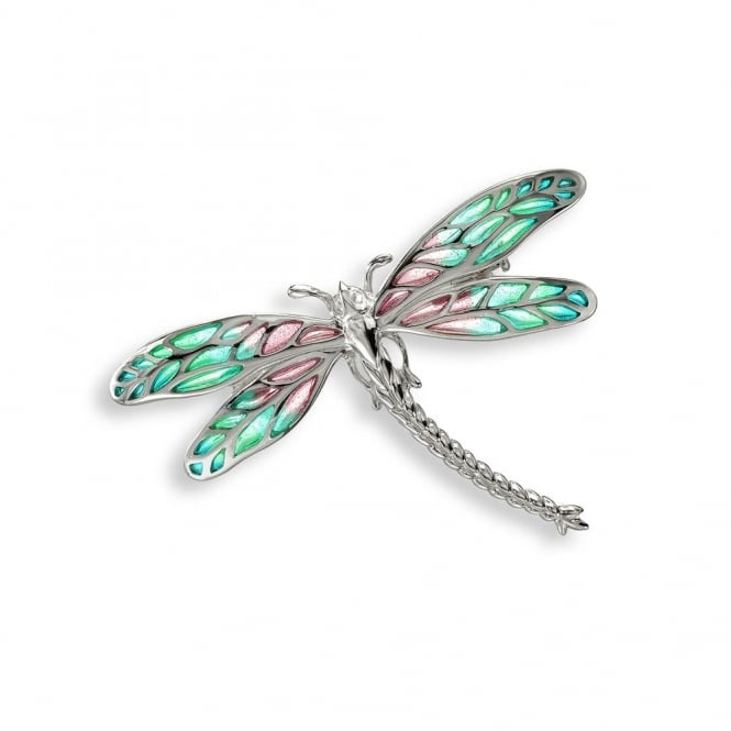 Nicole Barr Turquoise Enamel Detailed Dragonfly Brooch