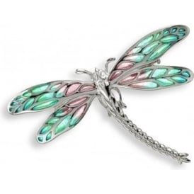 Turquoise Enamel Detailed Dragonfly Brooch