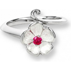 White Enamel Rose Ring With Ruby