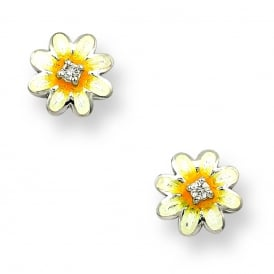 Yellow Enamel & Diamond Daisy Stud Earrings
