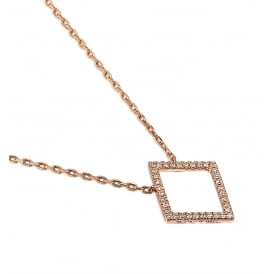 18ct Red Gold Diamond Shaped Diamond Necklace